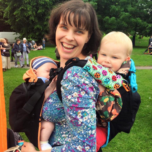 Carrying multiples, babywearing twins, babywearing toddler and newborn