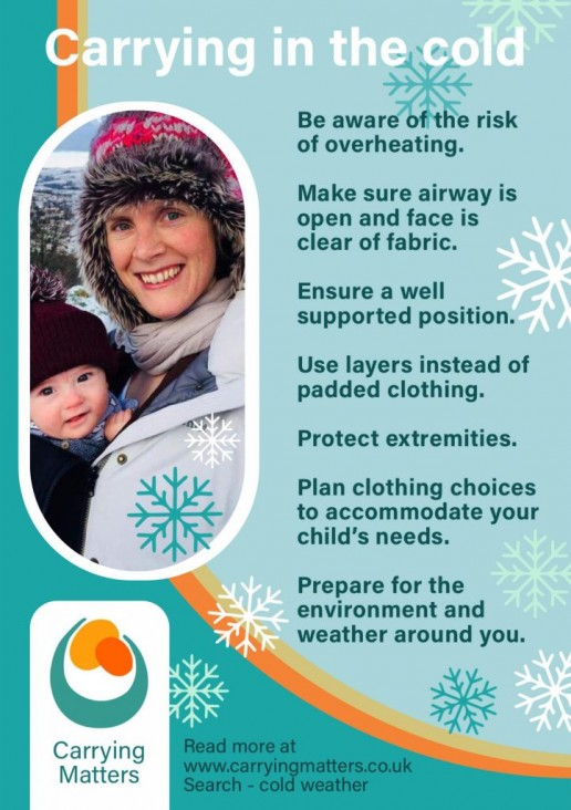 snowsuits scarves slings and safety, carrying in the cold