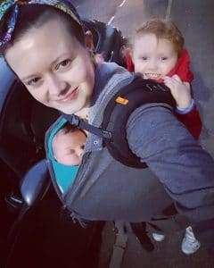 Tandem babywearing, stretchy on the front, Beco toddler on the back