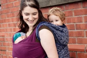 Tandem Babywearing stretchy and woven wrap